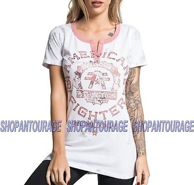 American Fighter Maryland Fw6618 Women S New White Rose T Shirt By Affliction