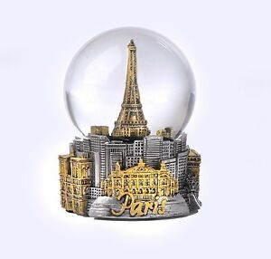PARIS IN SILVER WITH GOLD ICONS   - EXCLUSIVE 65MM SNOW GLOBE-NEW