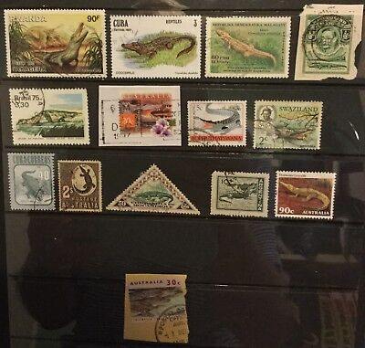 Crocodiles and alligators stamps, used range, card not included