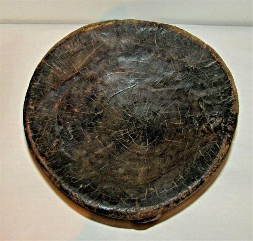 "Antigue African Teak Wood Stool Single Hardwood Block Carving 10.5"" d x 7.5"" h"