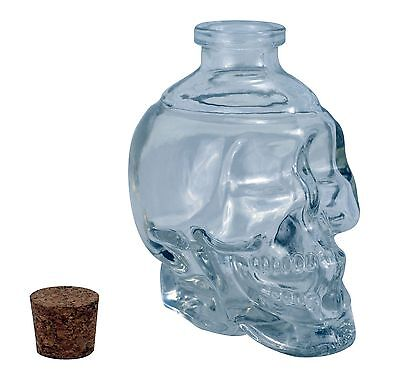 Glass Skull Decanter -  FILL it UP w/ Wine, Beer or Liquor - 125ml - Great (Decanter Decor)