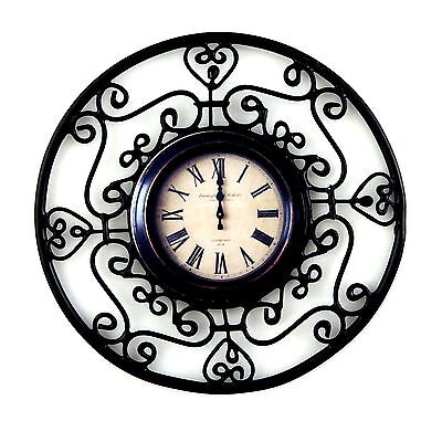 Dolls House Fancy Black Wrought Iron Framed Round Wall Clock Miniature Accessory