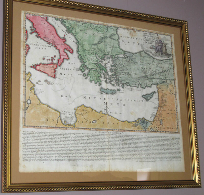 FRAMED ANTIQUE MAP c1730 Middle East ITALY North Africa ARABIA Meditranian
