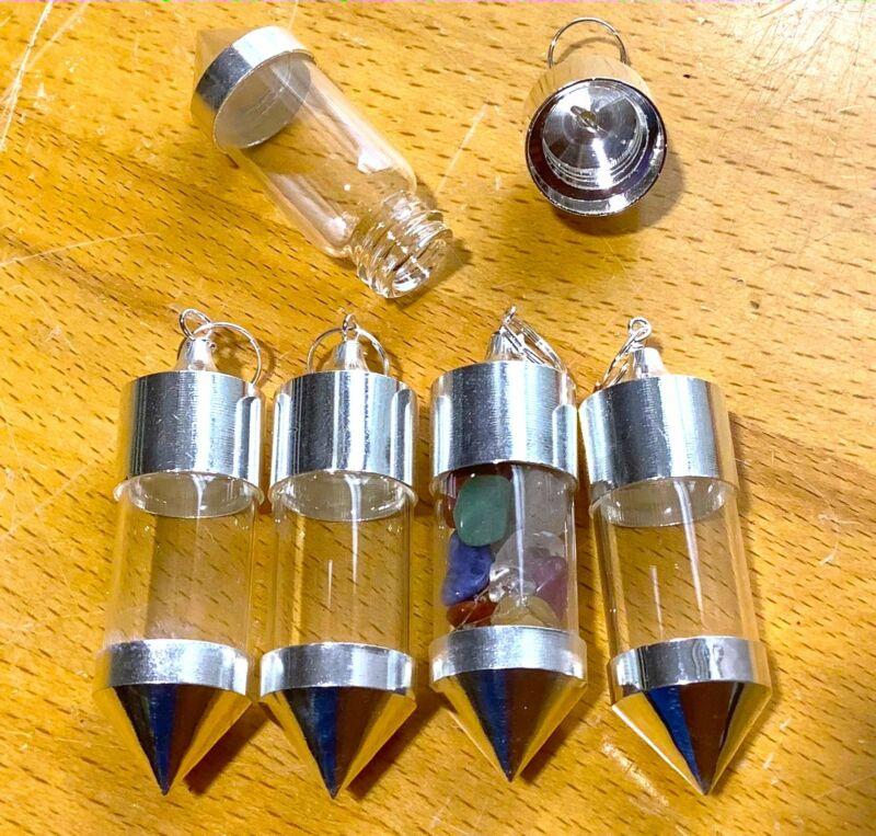 Bulk Wholesale Lot Of 5 Pieces Bottle Pendant Empty Silver Twist Top Pendant