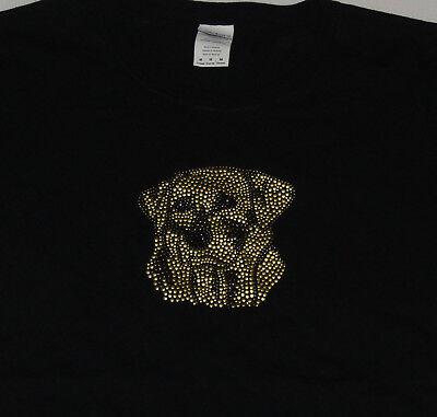 Yellow Labrador Retriever Womens T Shirt Black Medium New Embellished Lab Cotton