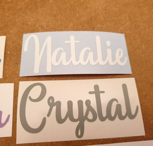 Custom Personalised Name Word Vinyl Decal Fancy Script Font Sticker Text Label 6