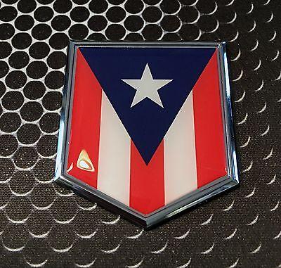 Puerto Rico Flag Car - Puerto Rico Flag Domed CHROME Emblem Proud Flag Car 3D Sticker 2