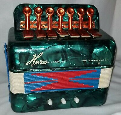 Vtg Small Toy Hero Accordion Children Green Marble pattern Child's Instrument