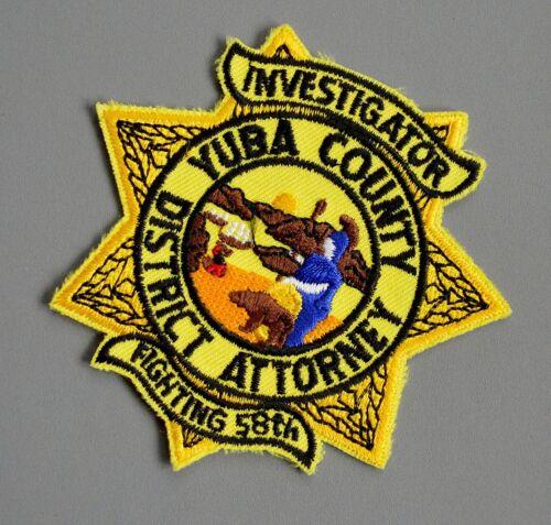 Yuba County California District Attorney Investigator Patch ++ Mint CA