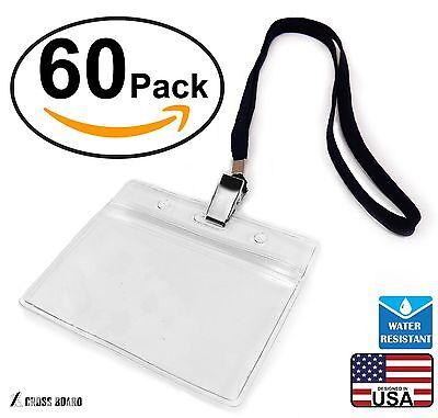 60 Pcs Waterproof Plastic Name Tag Id Card Holder 60 Pcs Woven Lanyard Set-new
