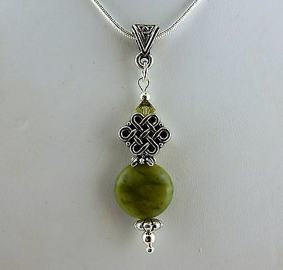 "Irish Connemara Marble Celtic Knot pendant with Swarovski on 18"" silver chain"