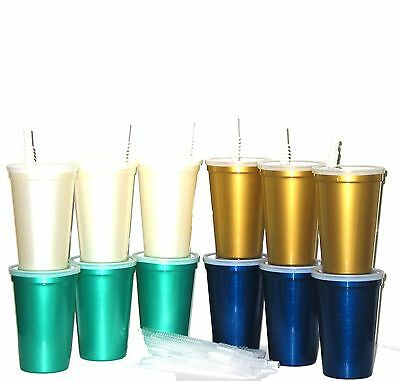 Drinking Glasses Wholesale (6 Large Pearlized Plastic Drinking Glasses Lids Straws 3 each Pearl white ,)