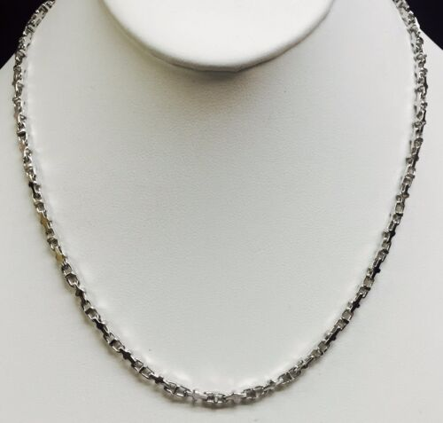 """14k Solid White Gold Anchor Mariner Link Chain Necklace 3.1 Mm  25 Grams  24"""""""
