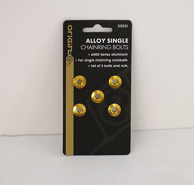 ORIGIN8 SINGLE-RING ALLOY CHAINRING BOLTS GOLD SET OF 5 NEW - Alloy Chain Ring Bolt Set