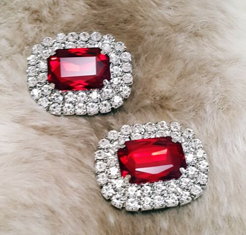 Brilliant Special Events Rhinestone Silver Plated RED Shoe Clips