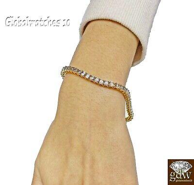 10k Diamond Bracelet Yellow Gold Finish Tennis Womens Bracelet Real Diamonds