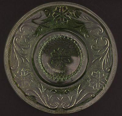 Tiara Flat Cup (Tiara Crystal Sandwich Light Green Pattern Flat Cup Saucer 6.25