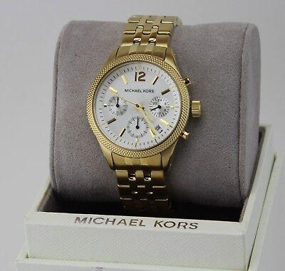 NEW AUTHENTIC MICHAEL KORS RITZ GOLD WHITE CHRONOGRAPH WOMEN'S MK6132 WATCH