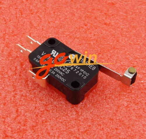 10Pcs Micro Limit Switch Long Hinge Roller V-156-1C25 Momentary SPDT Snap Action