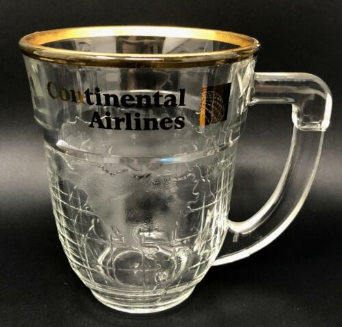 Continental Airlines Glass Mug, World Map, Airline Collectible, Hard To Find Cup