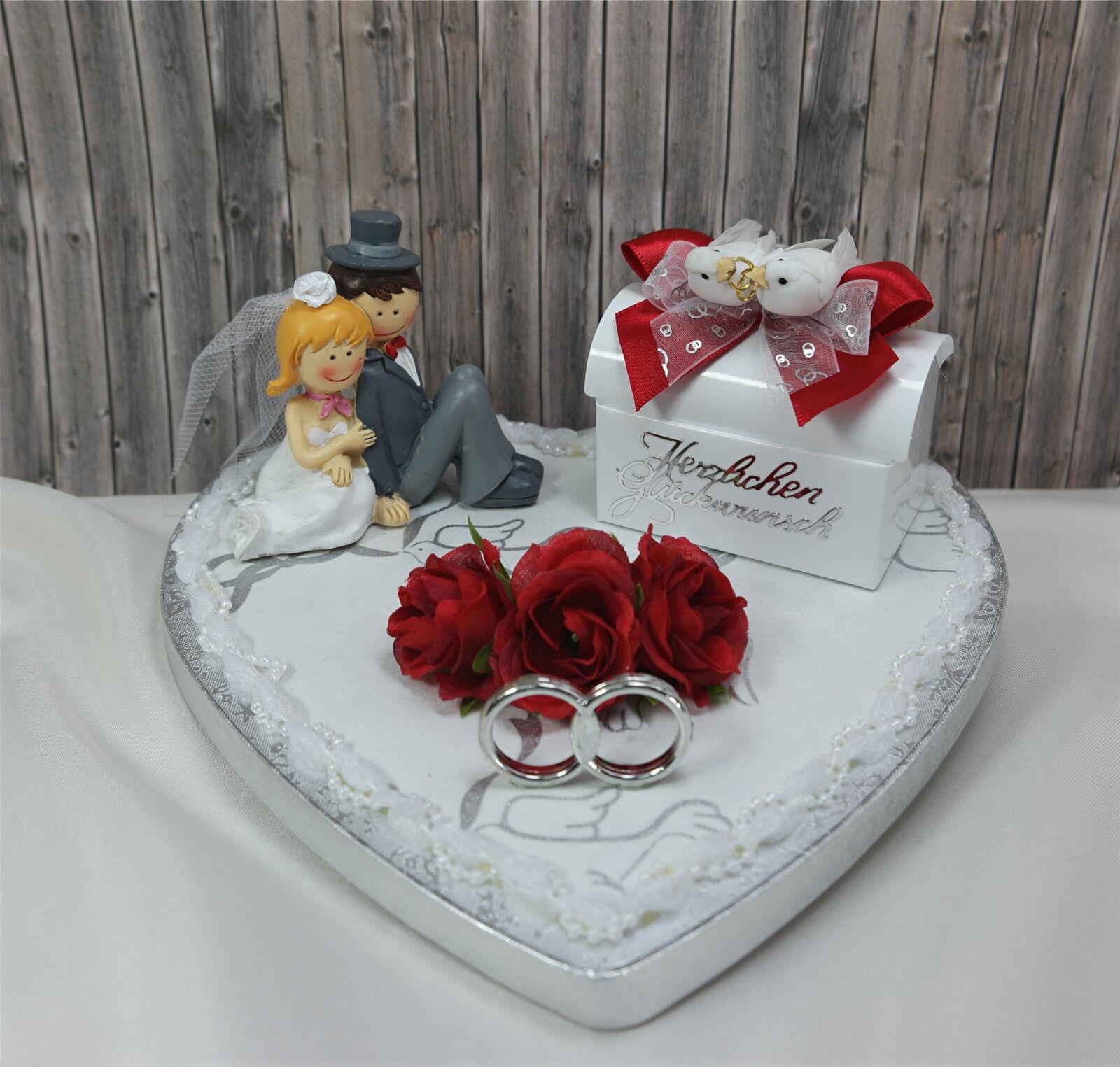 Geldgeschenk Herz Brautpaar Deko rot Hochzeit