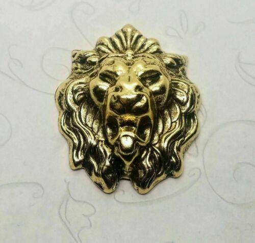 Large Brass  Lion Head Stamping - 107RAT
