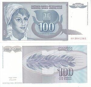 JUGOSLAVIA-YUGOSLAVIA-JUGOSLAVIJE-100-DINARI-1992-FDS-UNC