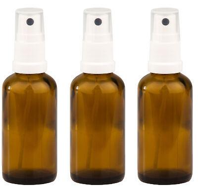 Apotheker Braunglas (3x Apotheker Flasche Sprühflasche aus Braunglas Zerstäubereffekt 50 ml Sprühkopf)