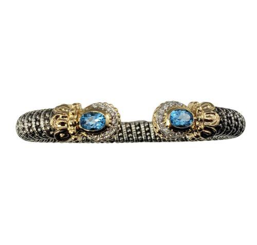 Vintage Vahan Sterling Silver/14k Gold Blue Topaz and Diamond Bracelet #9761