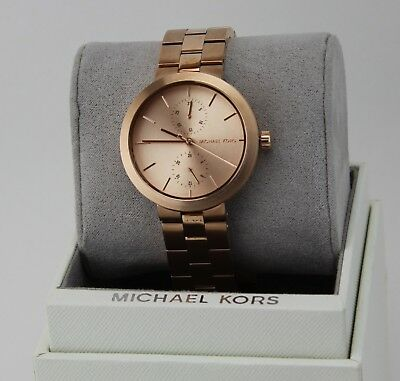NEW AUTHENTIC MICHAEL KORS GARNER CHRONOGRAPH ROSE GOLD WOMEN'S MK6409 WATCH