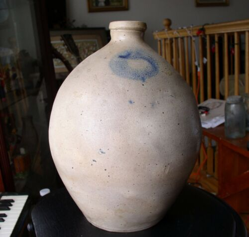 EARLY Ovoid Stoneware Jug with Blue decoration Excellent shape