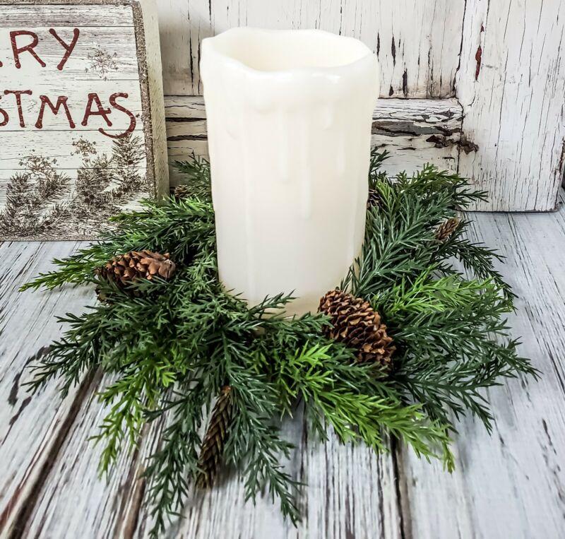 Pine & Pinecone Pillar Candle Ring - Christmas Winter Farmhouse Home Decor