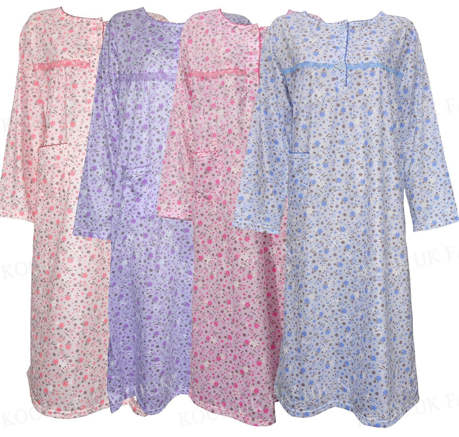da donna con fiori Camicia notte pigiama cotone intera maniche 8-16