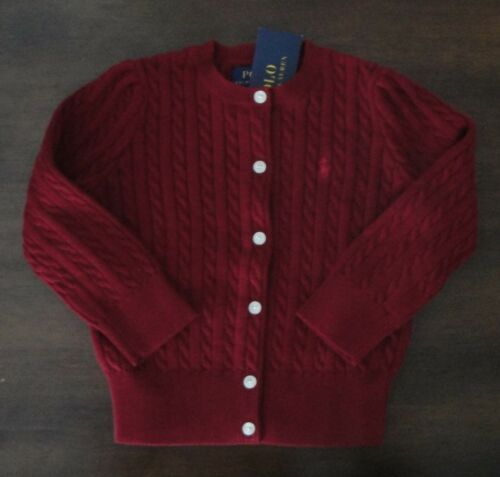 NWT Ralph Lauren Girls LS Red Mini Cable Cotton Cardigan Sweater Sz 2/2t 24m NEW