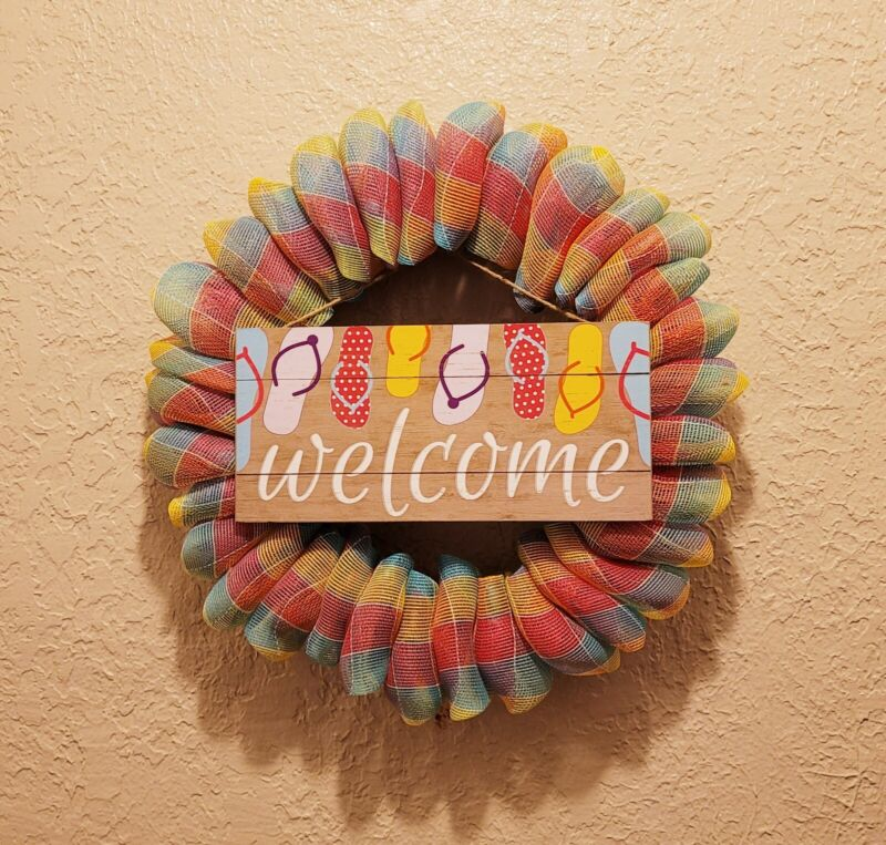 Flip Flop Welcome Wreath - Summer - Wood - Deco Mesh & Ribbon