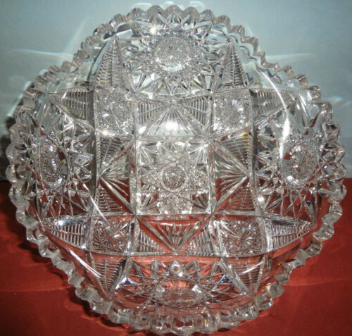 "c1880-90 ABP Important AMERICAN BRILLIANT PERIOD CUT GLASS ornately cut 8"" BOWL"
