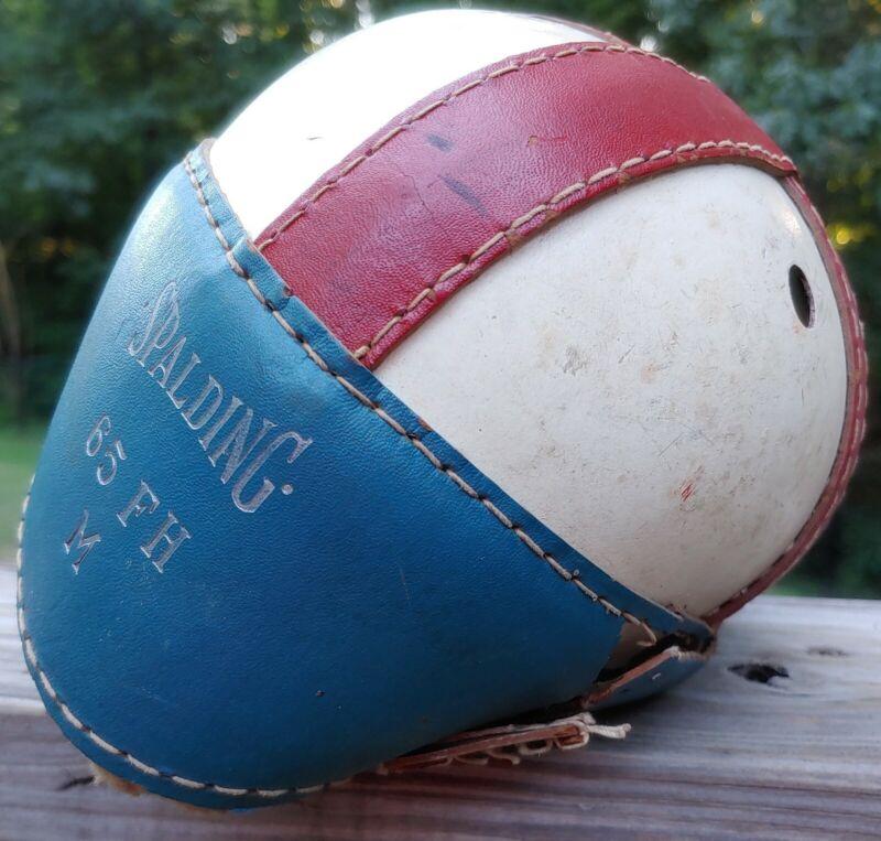 Old Antique SPALDING  Vintage Leather Football Helmet M65 FH M Red White Blue