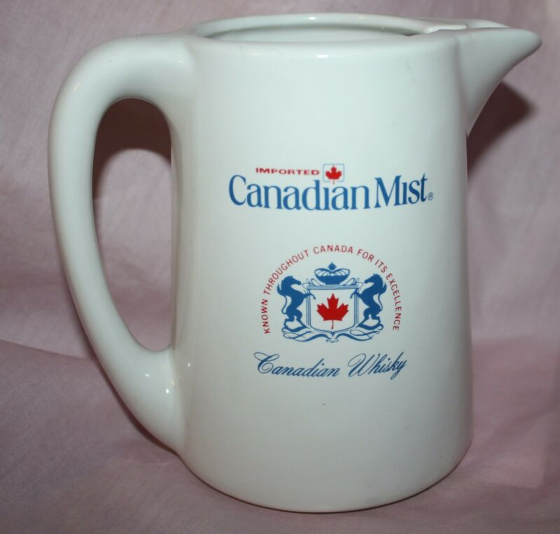 USED CANADIAN MIST WHISKEY 32 OZ. CERAMIC PITCHER