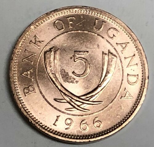 # C235    UGANDA   COIN,    FIVE  CENTS   1966  Unc.