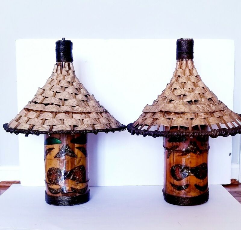 TWO VINTAGE Orchids of Hawaii Style Tiki Light Lamp Swag Chandelier