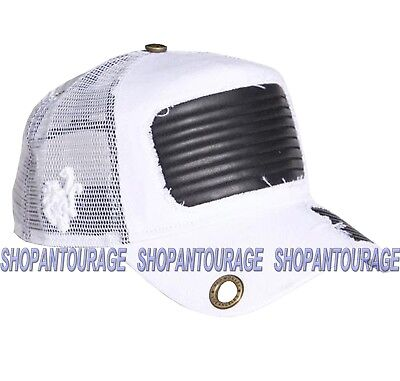 Red Monkey Leather Torn RM1200 Limited Edition Unisex Fashion White Trucker - Torn Visor