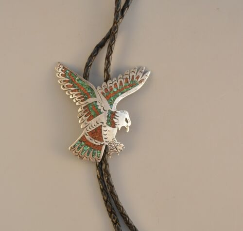 Vtg Navajo Indian Bolo Tie - Eagle In Flight- Turquoise & Coral Chip Inlay