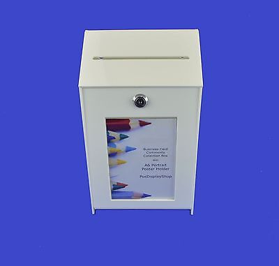 Small White Ideas Collection Box / Suggestion Box Lockable - PDS9463A6 White