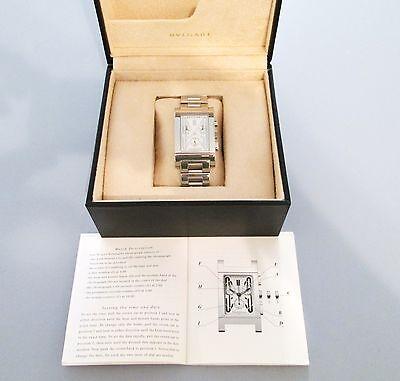 Men's Bulgari Rettangolo RTC 49S Chrono/Date Stainless Steel Watch/Box & Manual