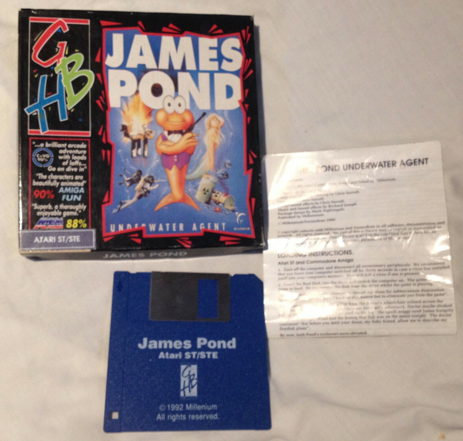 retro computer games - JAMES POND Atari STe ST video computer game 1992 retro vintage Underwater Agent