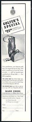 1938 Mark Cross golf bag sports bag photo vintage print ad