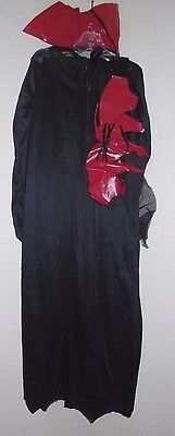 girls 3 pc VAMPIRE black DRESS HALLOWEEN COSTUME sheer cape RED COLLAR BELT 6/8](Plain Black Dress Halloween Costume)