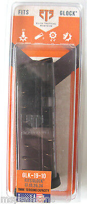 ETS Glock G19 Elite Tactical Systems  - 9mm 10 Round Magazine Fits Gen 4 3 2 1 for sale  Geneva