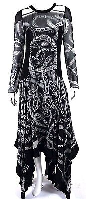 BARBARA BUI $1,925 Pre-Fall 2015 Snake Print Silk Handkerchief Evening Gown 38