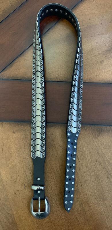 Vintage Black Leather Silver Studded Belt - Size 36
